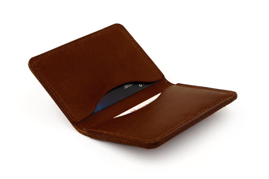 Leather Wallet - Folding Card Holder - (Brown Buttero)
