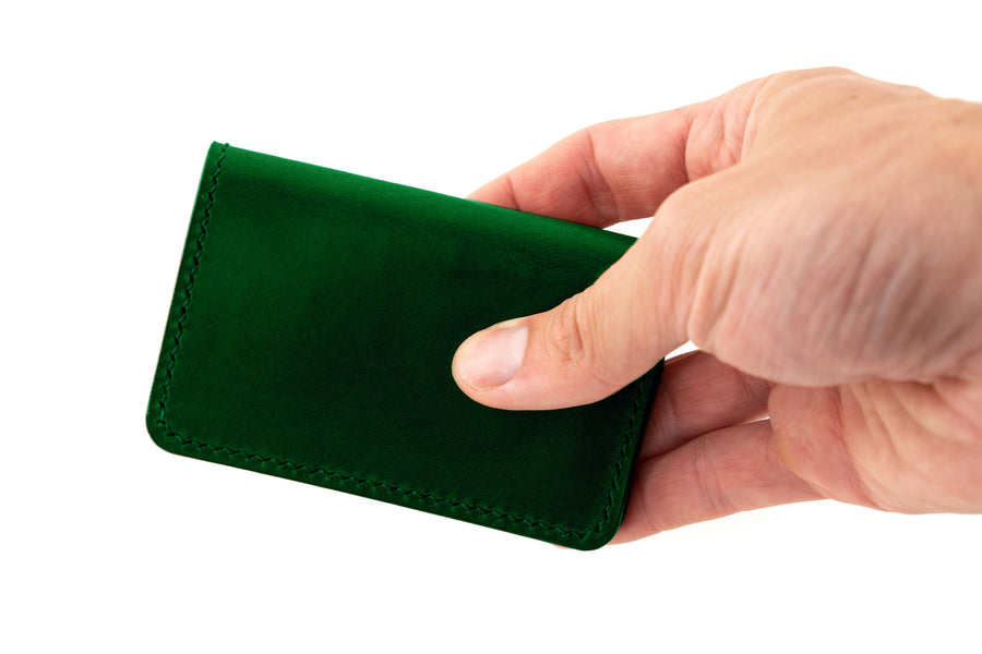 Leather Wallet - Folding Card Holder - (Green Buttero)