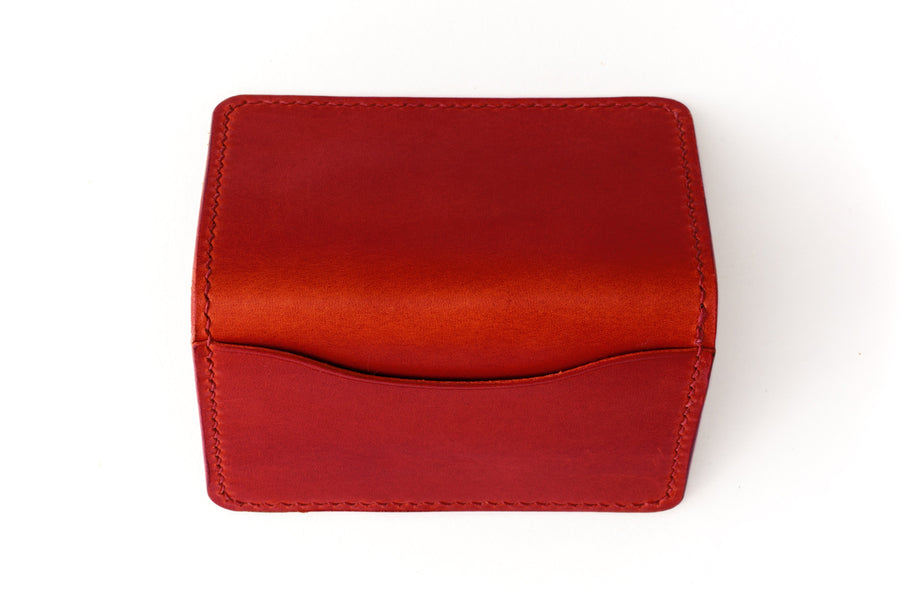 Leather Wallet - Folding Card Holder - (Red Buttero)