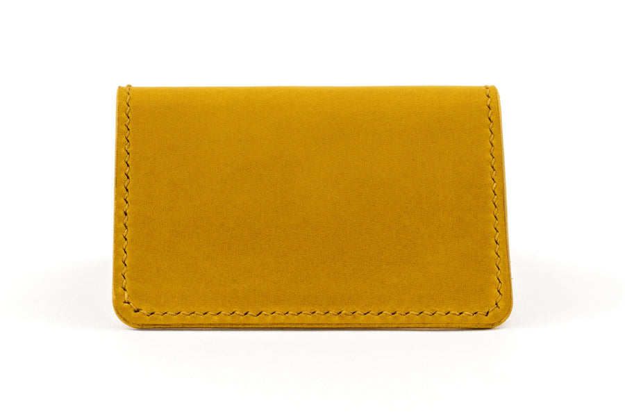 Leather Wallet - Folding Card Holder - (Yellow Buttero)