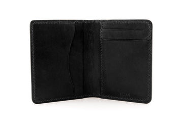 Leather Wallet - Folding Wallet - (Black Buttero)