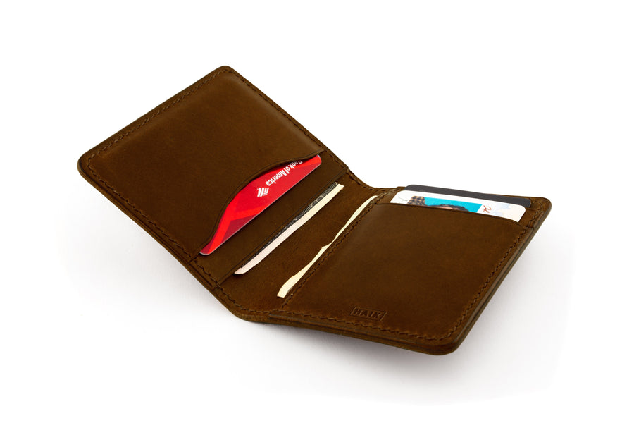Leather Wallet - Folding Wallet - (Brown Buttero)