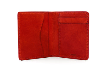 Leather Wallet - Folding Wallet - (Red Buttero)
