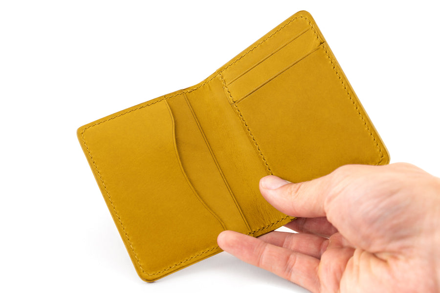 Leather Wallet - Folding Wallet - (Yellow Buttero)