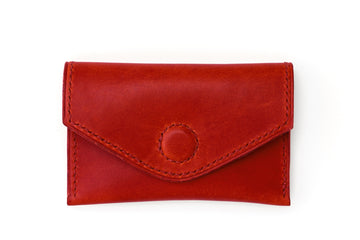 Leather Wallet - Magnetic Card Holder - (Red Buttero)