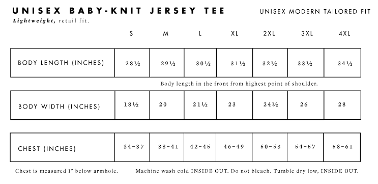Baby-Knit Unisex Short Sleeve Tee Sizes