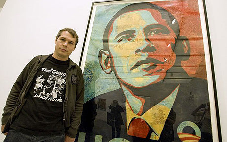 Shepard Fairey in front of his Hope Obama poster.