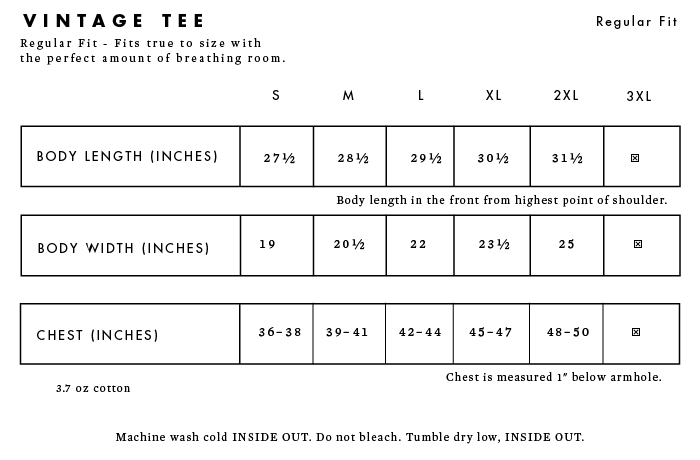 Sizing Information for Liberty Maniacs vintage men's short sleeve t-shirts