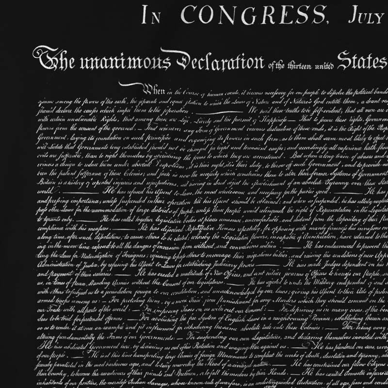 Declaration of independence t shirt liberty maniacs declaration of independence graphic tee close up on black publicscrutiny Image collections