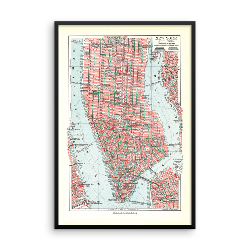 Vintage New York City Map Framed Poster Liberty Maniacs