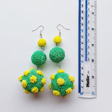 Load image into Gallery viewer, Quirky design green and yellow long drop three tier earrings, handmade in Ireland.