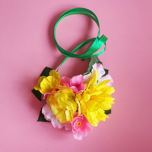 Pink and yellow floral Summer necklace