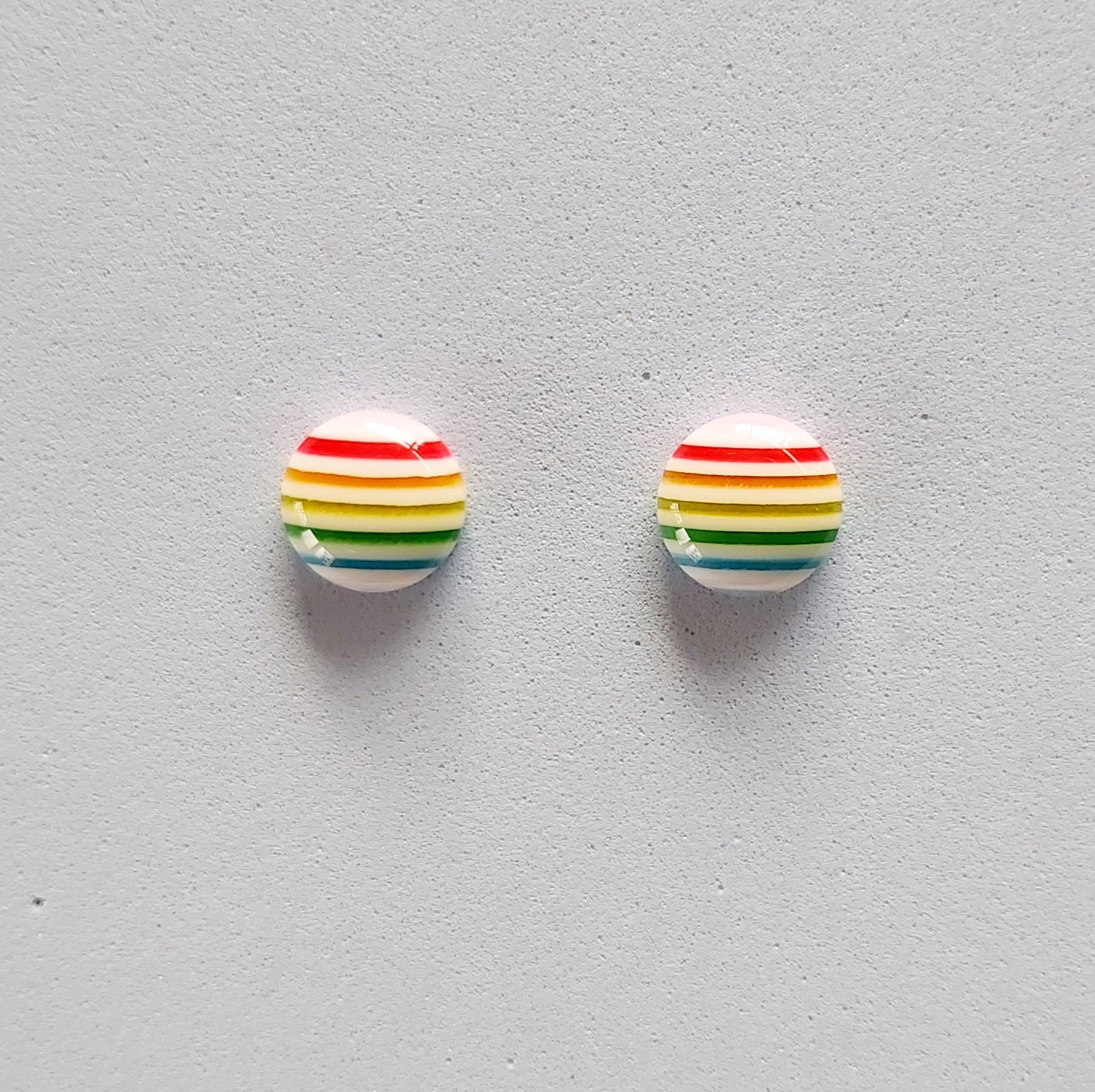 White striped rainbow colours studs