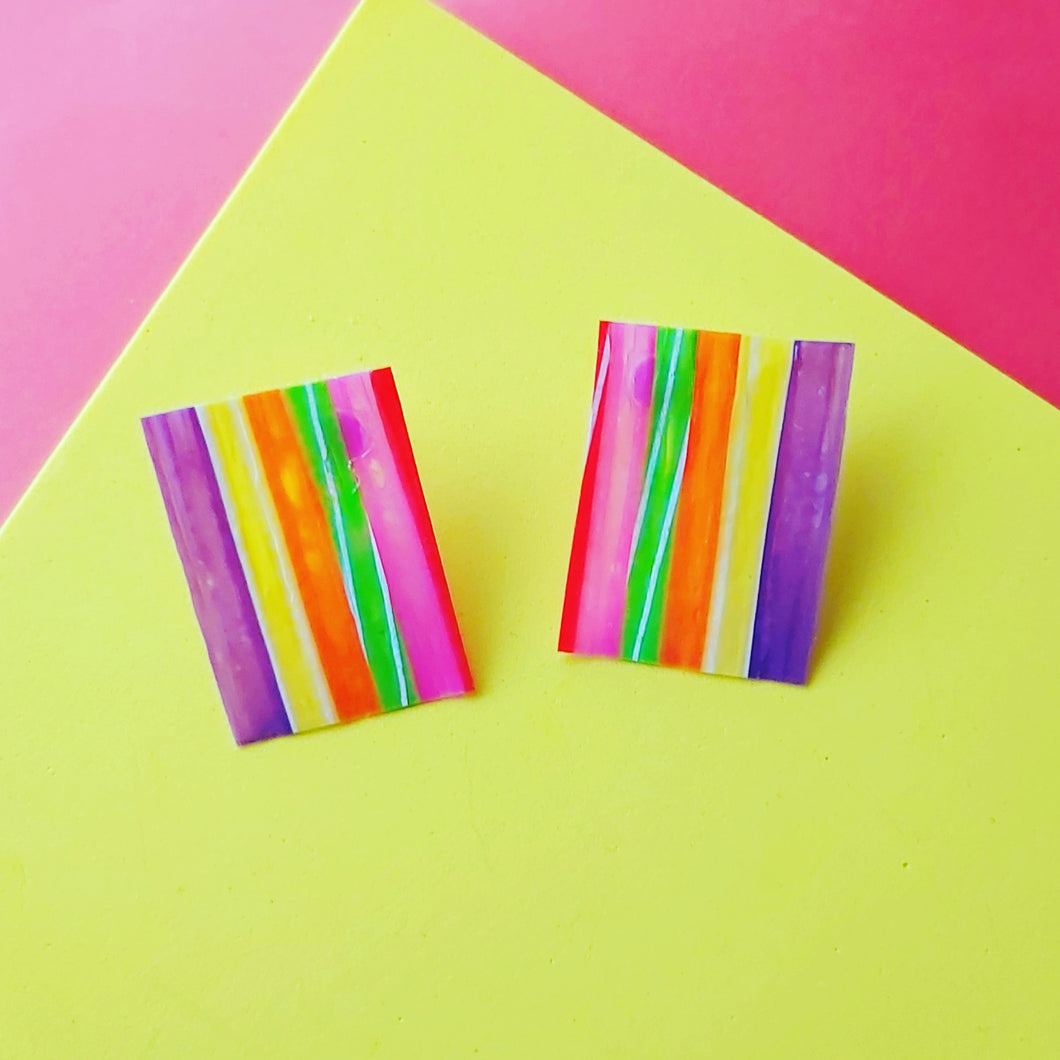 Rainbow stripe studs