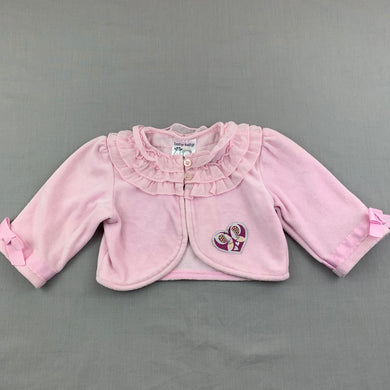 Girls Baby Baby, pink cotton velour cardigan / sweater, EUC, size 00