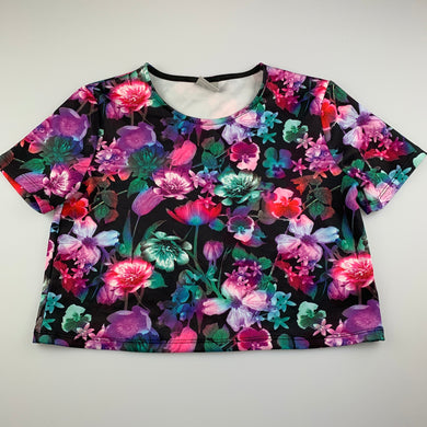 Girls Emerson, soft stretchy floral cropped top, L: 38cm shoulder to hem, EUC, size 12