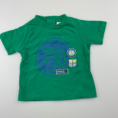 Boys Baby Biz, green cotton t-shirt / top, GUC, size 0000
