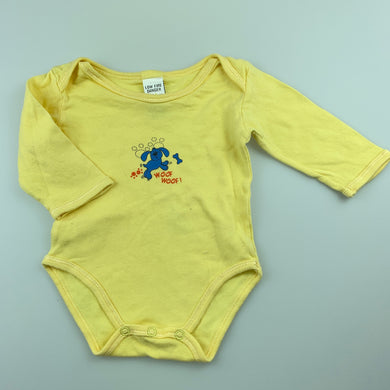 Boys Baby Baby, yellow soft cotton bodysuit / romper, dog, GUC, size 000
