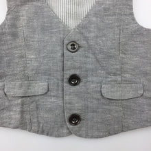 Load image into Gallery viewer, Boys Target, grey cotton formal / wedding vest / waistcoat, EUC, size 000