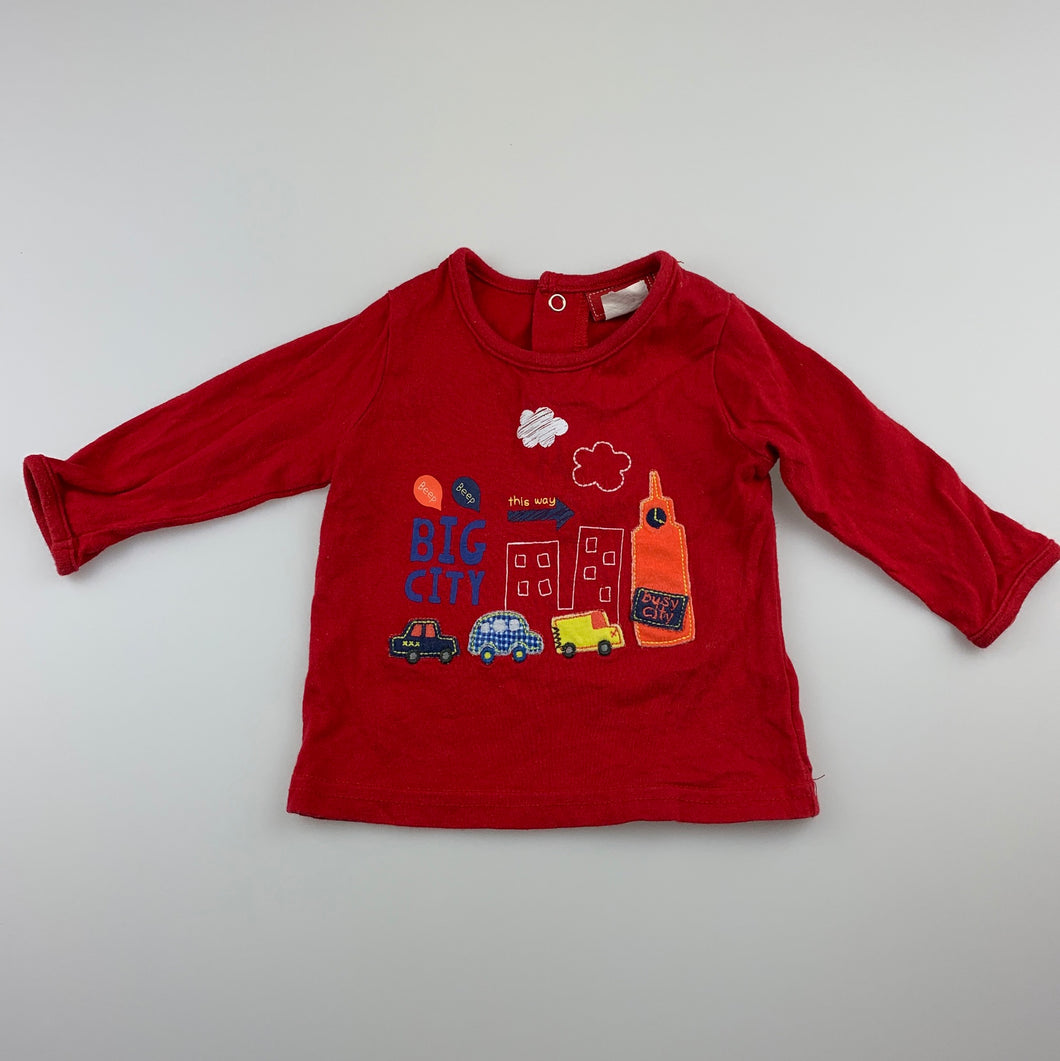 Boys Sprout, red cotton long sleeve t-shirt / top, GUC, size 00