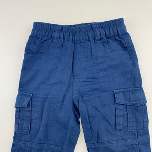 Boys Sprout, blue lightweight cotton cargo pants, elasticated, GUC, size 00