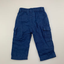 Load image into Gallery viewer, Boys Sprout, blue lightweight cotton cargo pants, elasticated, GUC, size 00