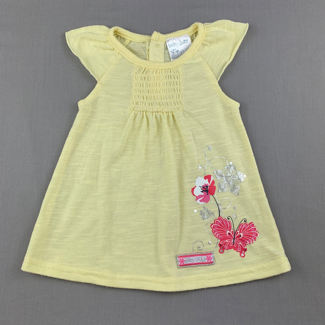 Girls Baby Baby, yellow soft feel lightweight top, GUC, size 00