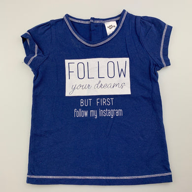 Girls Baby Berry, blue cotton t-shirt / top, instagram, GUC, size 1