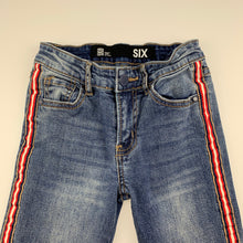 Load image into Gallery viewer, Girls Cotton On, blue stretch denim jeans, adjustable, Inside leg: 49cm, EUC, size 6