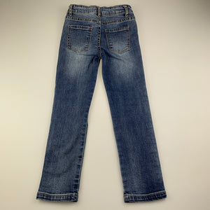 Girls Cotton On, blue stretch denim jeans, adjustable, Inside leg: 49cm, EUC, size 6