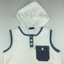 Load image into Gallery viewer, Boys Next, white cotton sleeveless hoodie t-shirt, GUC, size 7