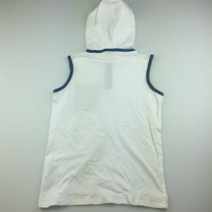 Boys Next, white cotton sleeveless hoodie t-shirt, GUC, size 7