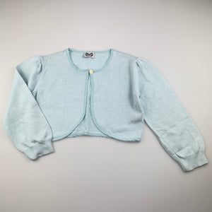Girls Dolce & Gabbana, light blue soft feel knit bolero cardigan, EUC, size 11-12