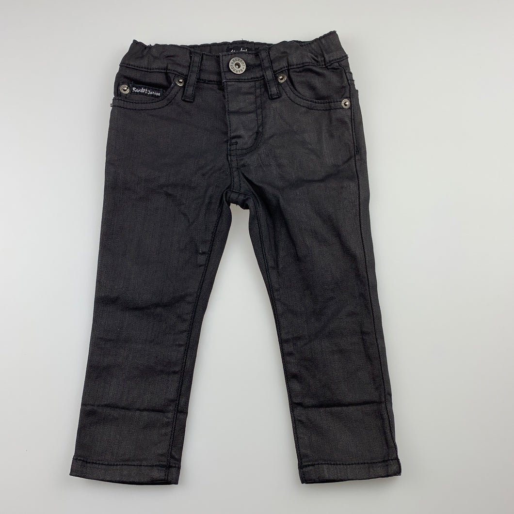 Girls Bardot Junior, trendy black stretch casual pants, adjustable, Inside leg: 27cm, EUC, size 0