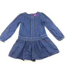 Load image into Gallery viewer, Girls Shrinking Violet, blue lightweight denim long sleeve party dress, pockets, GUC, size 5