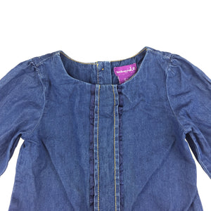 Girls Shrinking Violet, blue lightweight denim long sleeve party dress, pockets, GUC, size 5