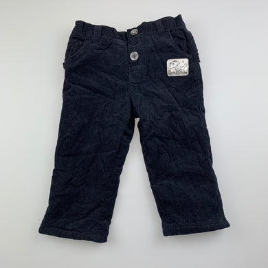 Girls Baby Baby, lined dark navy corduroy pants, elasticated, EUC, size 00