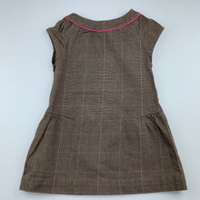 Load image into Gallery viewer, Girls Jacadi Paris, brown check stretch cotton casual dress, EUC, size 4