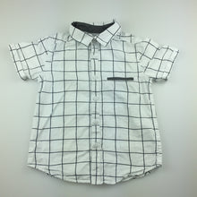 Load image into Gallery viewer, Boys H&T, navy & white check cotton short sleeve shirt, GUC, size 4