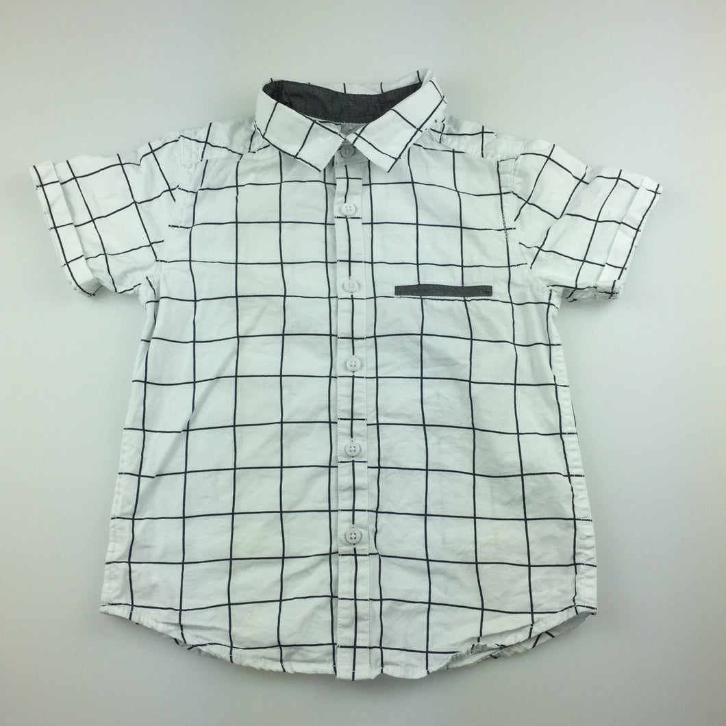 Boys H&T, navy & white check cotton short sleeve shirt, GUC, size 4