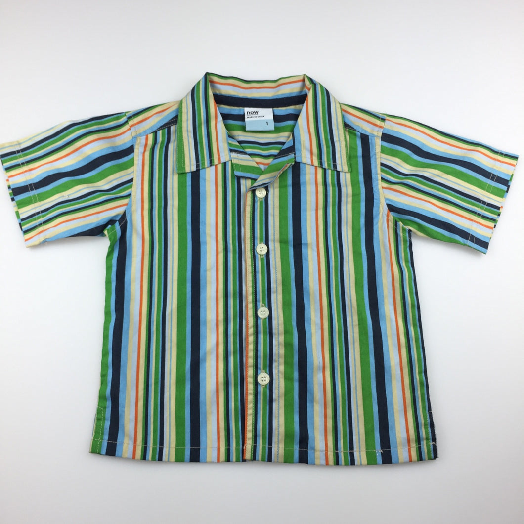 Boys Now, striped cotton short sleeve shirt, GUC, size 1