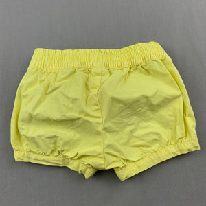 Girls Tiny Little Wonders, yellow cotton shorts, elasticated, FUC, size 00