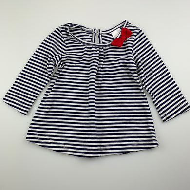 Girls 123, navy & white stripe cotton top, GUC, size 00