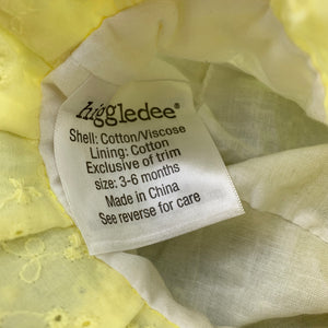 Girls Higgledee, cotton lined lemon broderie hat, EUC, size 00
