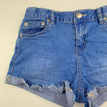 Load image into Gallery viewer, Girls Tilii, blue stretch denim jean shorts, adjustable, GUC, size 12