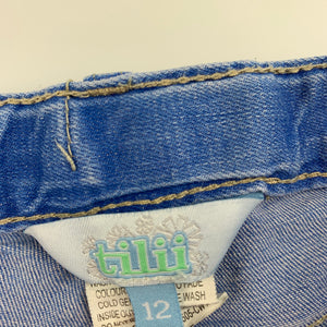 Girls Tilii, blue stretch denim jean shorts, adjustable, GUC, size 12