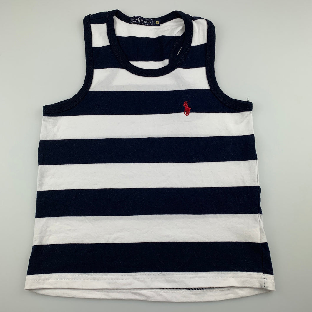 Girls Polo Fashion, navy & white cotton tank top, GUC, size 10