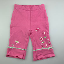 Load image into Gallery viewer, Girls Sprout, pink casual pants, elasticated, flowers, FUC, size 000