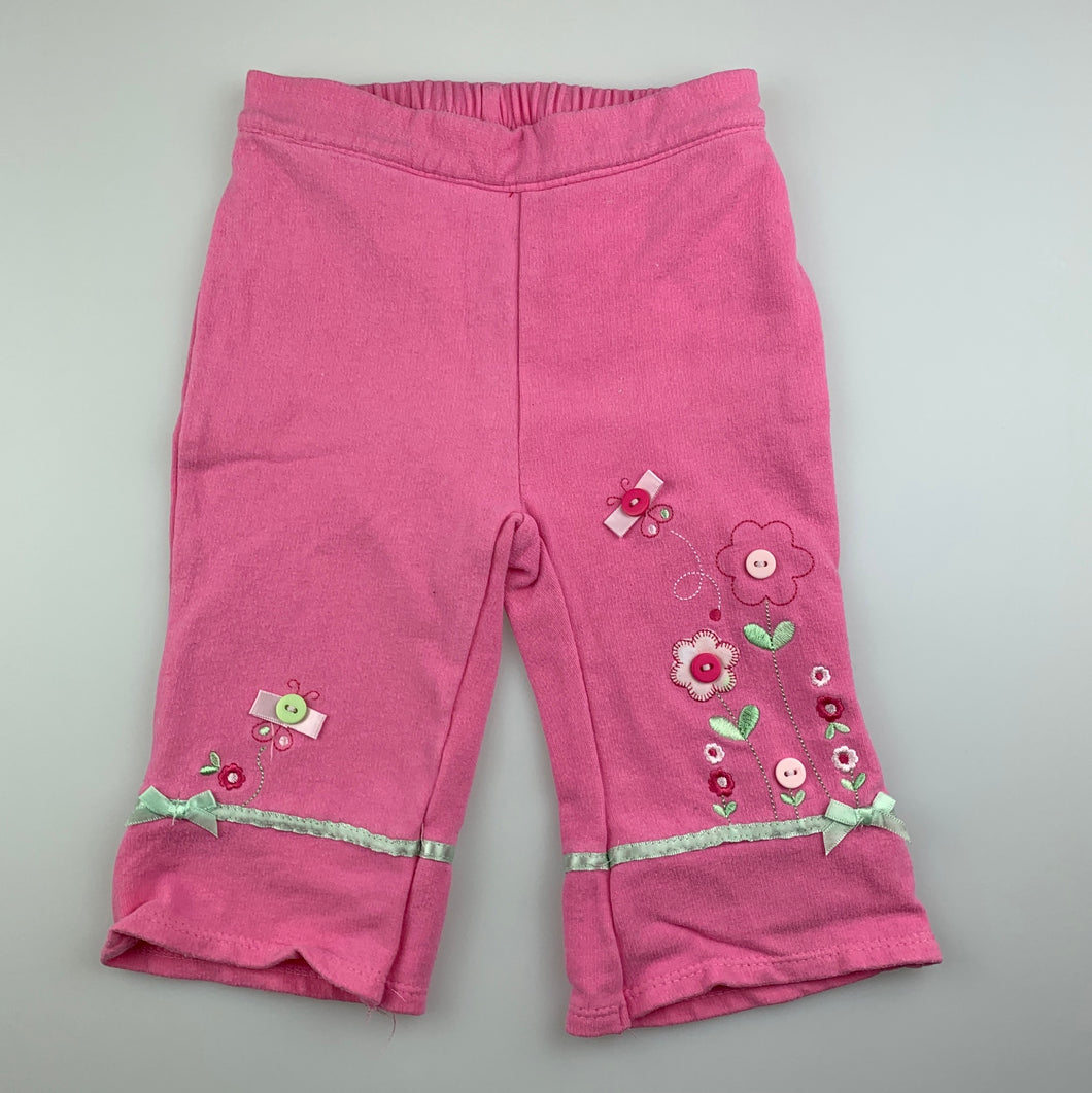Girls Sprout, pink casual pants, elasticated, flowers, FUC, size 000