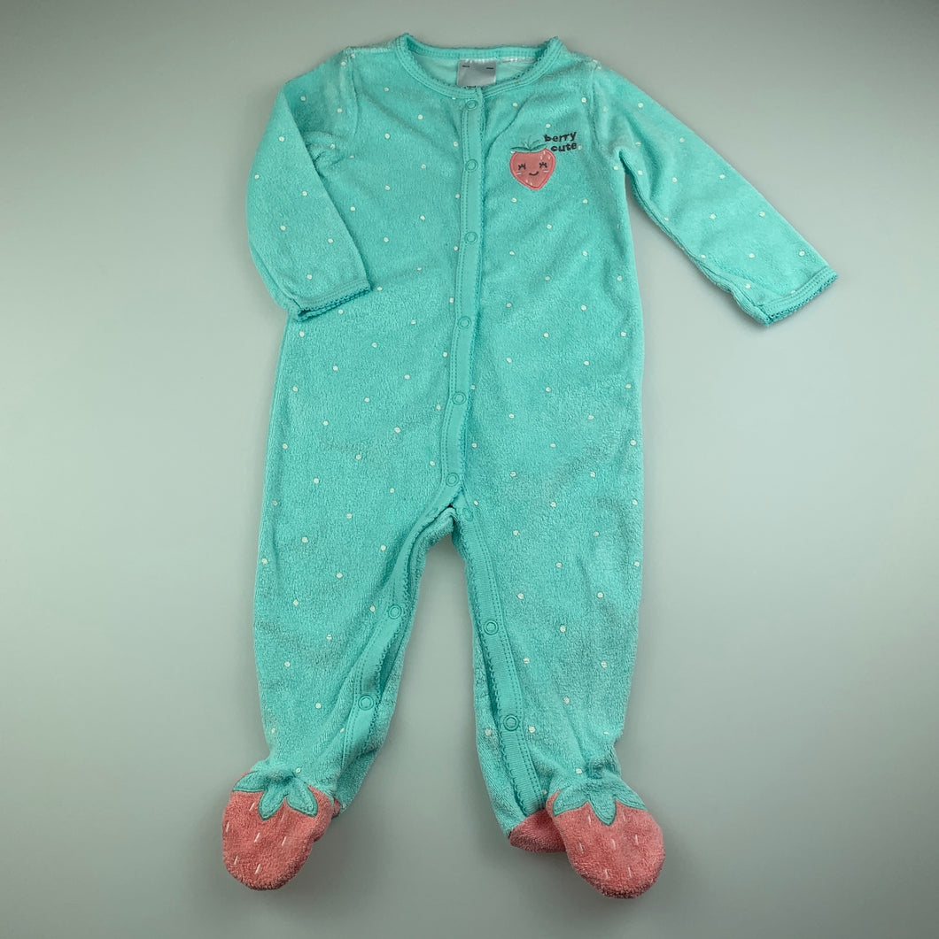 Girls Carter's, blue terry coverall / romper, marks on neck, FUC, size 0